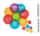 social marketing flat icons | Shutterstock .eps vector #608340491
