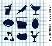 set of 9 tropical filled icons...   Shutterstock .eps vector #608340617