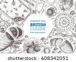 british cuisine top view frame. ... | Shutterstock .eps vector #608342051