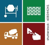 cement icons set. set of 4... | Shutterstock .eps vector #608344241