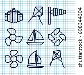 set of 9 wind outline icons... | Shutterstock .eps vector #608344304