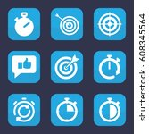 accurate icon. set of 9 filled... | Shutterstock .eps vector #608345564