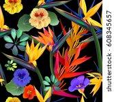 vector seamless pattern of... | Shutterstock .eps vector #608345657
