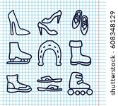 set of 9 shoe outline icons... | Shutterstock .eps vector #608348129