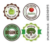 organic product guaranteed seal | Shutterstock .eps vector #608348495