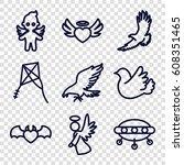flying icons set. set of 9...