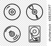 disk icons set. set of 4 disk... | Shutterstock .eps vector #608351597