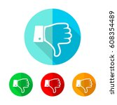 set of colored thumb down icons.... | Shutterstock .eps vector #608354489