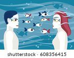 man and woman face to face.... | Shutterstock .eps vector #608356415