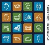 gourmet icons set. set of 16... | Shutterstock .eps vector #608358059