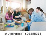 happy young multiracial group...   Shutterstock . vector #608358395
