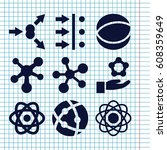 set of 9 particle filled icons... | Shutterstock .eps vector #608359649
