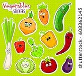 cartoon vegetable cute... | Shutterstock .eps vector #608362145