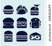 set of 9 cheese filled icons... | Shutterstock .eps vector #608363699