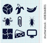 set of 9 painting filled icons... | Shutterstock .eps vector #608366801