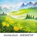 watercolor illustration. spring ... | Shutterstock . vector #608368769