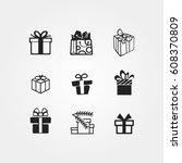 gift icons | Shutterstock .eps vector #608370809