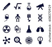science icons set. set of 16... | Shutterstock .eps vector #608370929