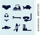 set of 9 sea filled icons such... | Shutterstock .eps vector #608371331