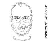 vector of portrait steve jobs... | Shutterstock .eps vector #608372339