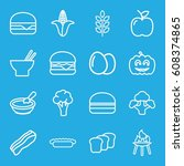 nutrition icons set. set of 16... | Shutterstock .eps vector #608374865