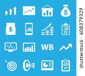 marketing icons set. set of 16... | Shutterstock .eps vector #608379329