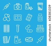 medication icons set. set of 16 ... | Shutterstock .eps vector #608381039