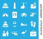 tourism icons set. set of 16... | Shutterstock .eps vector #608382209
