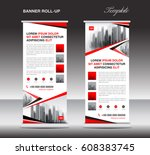 red roll up banner  stand... | Shutterstock .eps vector #608383745
