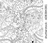 tracery seamless pattern.... | Shutterstock .eps vector #608384381