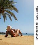 Beach scene. Playa Teresitas. Tenerife, Canaries - stock photo