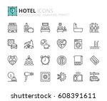outline icons about hotel.... | Shutterstock .eps vector #608391611
