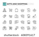 outline icons about gifts and... | Shutterstock .eps vector #608391617