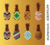 funny set on golden background. ... | Shutterstock .eps vector #608395199