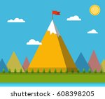top of the mountain with red... | Shutterstock .eps vector #608398205