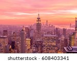 view of new york manhattan... | Shutterstock . vector #608403341