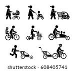 parents and their kids on the... | Shutterstock .eps vector #608405741