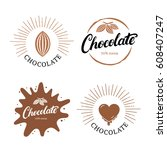 set of chocolate hand written... | Shutterstock .eps vector #608407247
