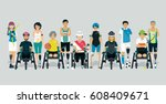 disabled athlete in a sports... | Shutterstock .eps vector #608409671