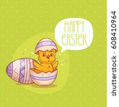 easter card with cute cartoon... | Shutterstock .eps vector #608410964