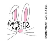 happy easter bunny | Shutterstock .eps vector #608416151