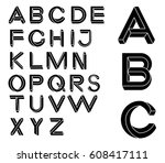 impossible geometry letters.... | Shutterstock .eps vector #608417111