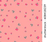 pink flowers on a pink... | Shutterstock .eps vector #608418239