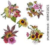 Set Of 4 Vintage Floral Vector...