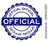 grunge blue official round... | Shutterstock .eps vector #608422385