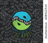 earth day poster. hands shaped... | Shutterstock .eps vector #608422514