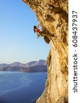 female rock climber on... | Shutterstock . vector #608437937