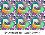 floral vintage seamless pattern ... | Shutterstock . vector #608439944