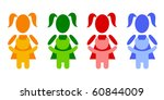 a pictogram girl with a teddy... | Shutterstock . vector #60844009