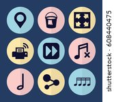 set of 9 button filled icons... | Shutterstock .eps vector #608440475